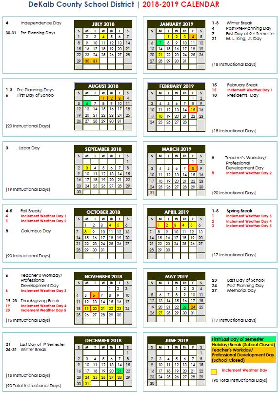 DeKalb Schools Calendar