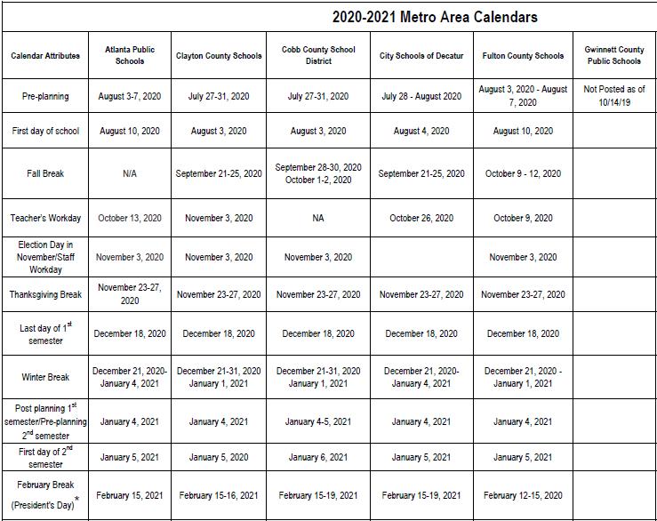 Atlanta Metro Area Calendars