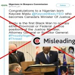 Claim that Nigerian-born Kaycee Madu is Canada's Minister of Justice is MISLEADING