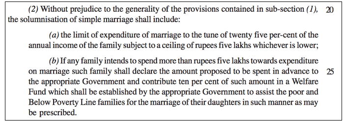 Prevention of Extravagance in Marriages_bill proposal
