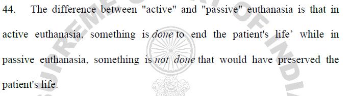 Active vs Passive Euthanaisa - Aruna Shanbaug Euthanasia Case