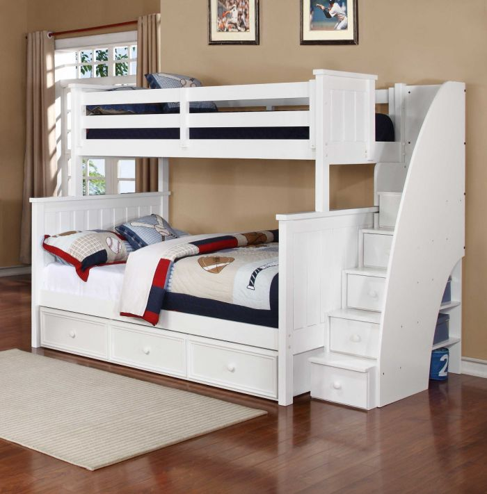 Twin Over Full Bunk Bed With Stairs And Storage Novocom Top