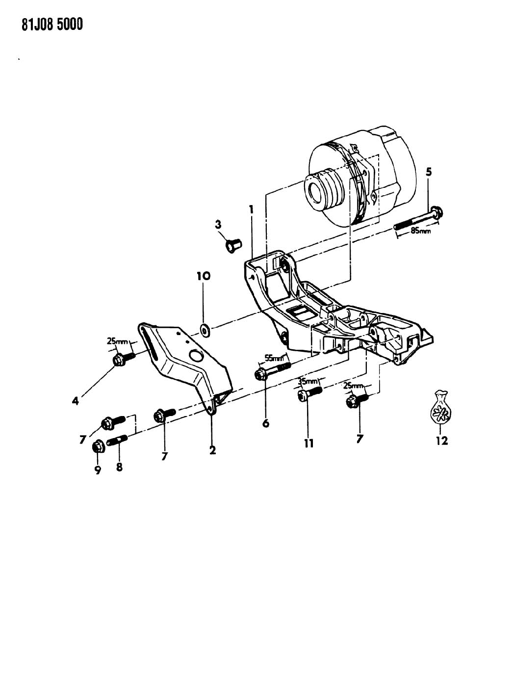 Jeep Wrangler Alternator Mounting Six Cylinder Xj