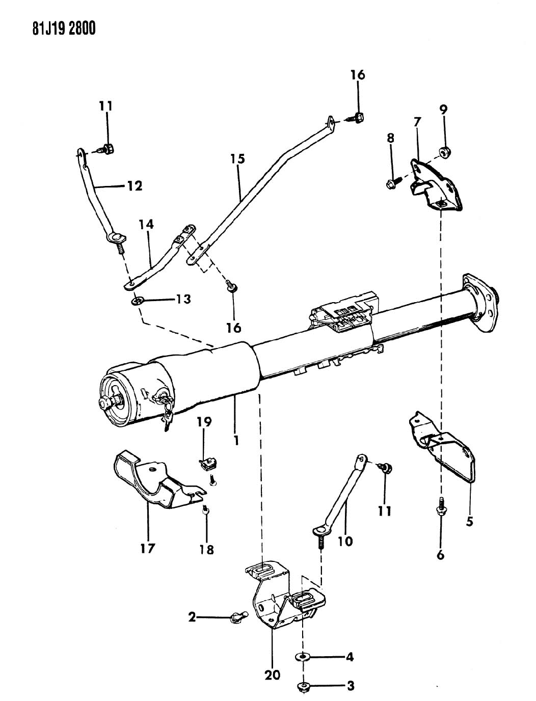 Column Assembly Steering And Mounting Brackets Sj