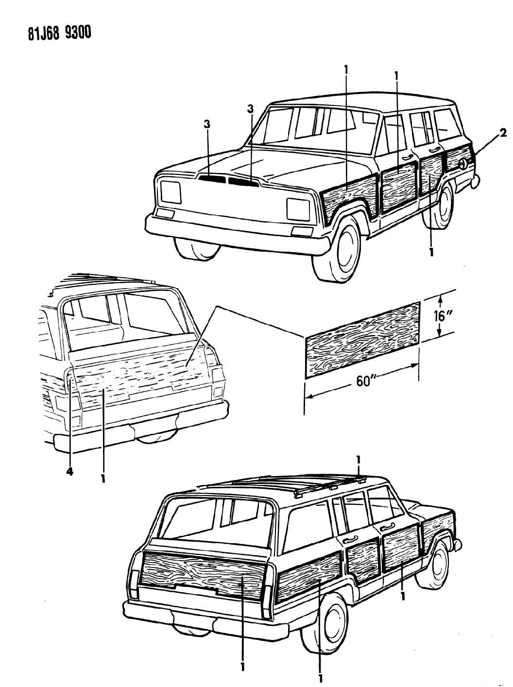 Jeep Grand Wagoneer Decals Exterior Woodgrain Sj