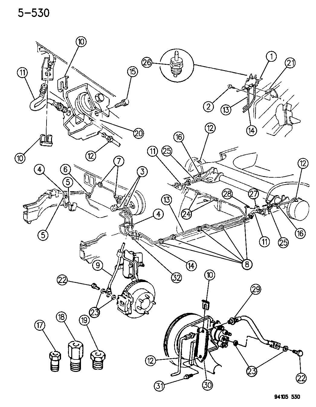 Chrysler Lebaron Lines And Hoses Brake W O Anti Lock