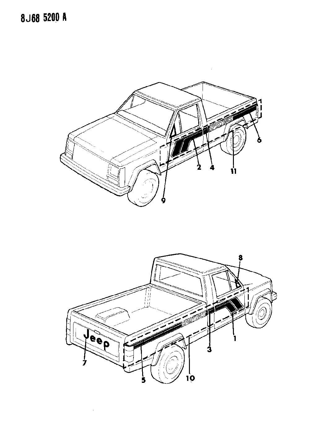 Jeep Comanche Decals Exterior Sportruck Comanche