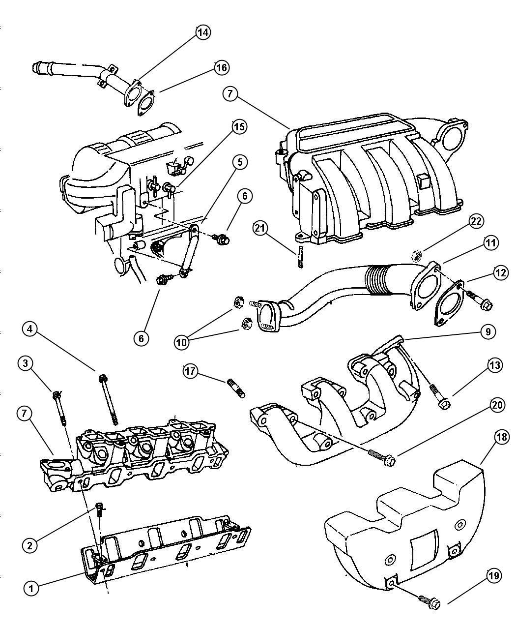 Manifolds Intake And Exhaust 3 3l Ega Egm Engine