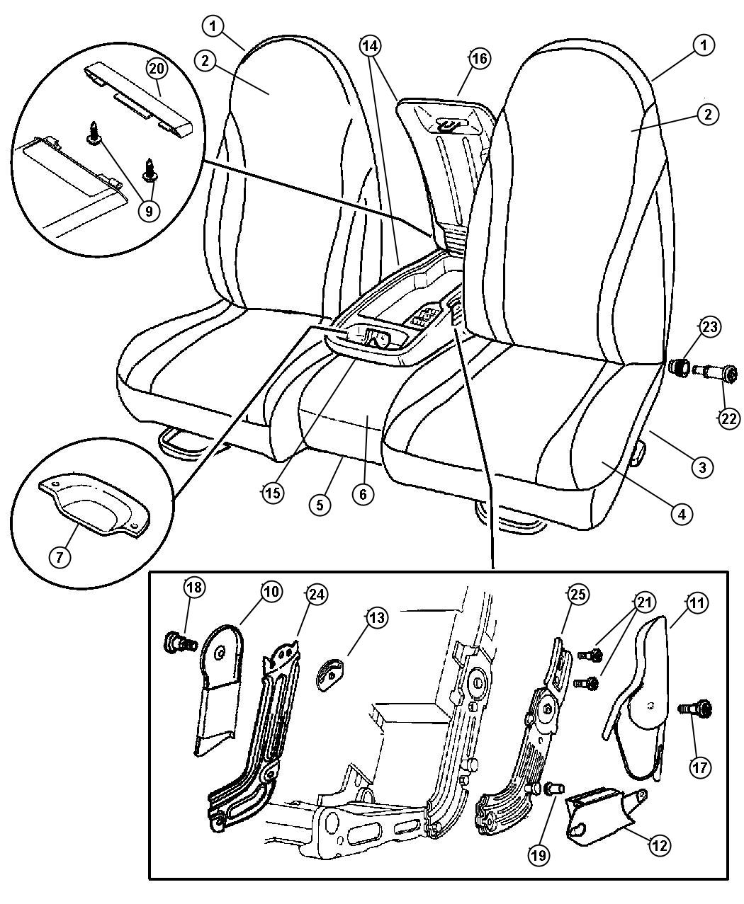 Seat Front Split Bench Trim Code P9
