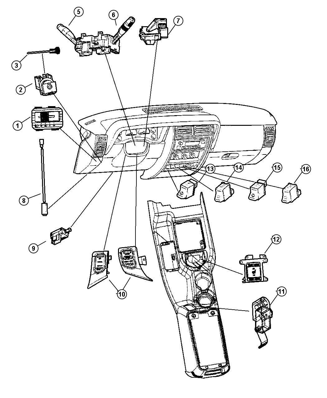 Jeep Cherokee Switches Instrument Panel And Console
