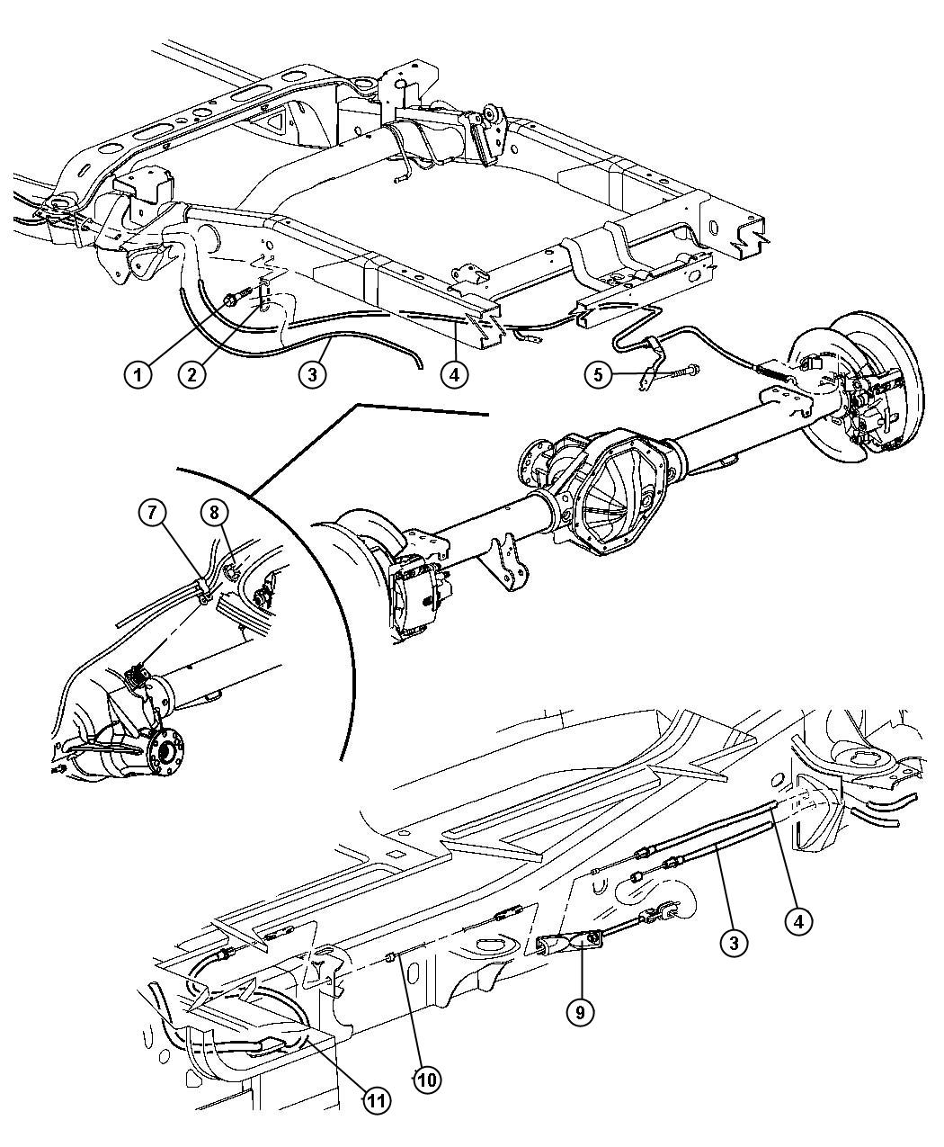 Dodge Ram Parking Brake Cables Rear