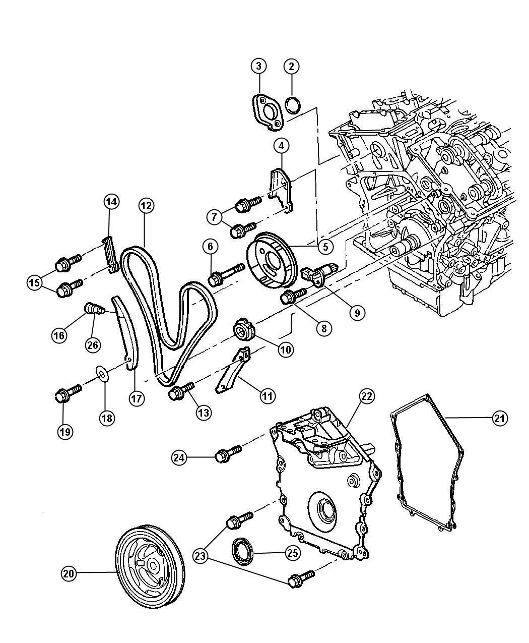 02 Chrysler Sebring Timing Cover