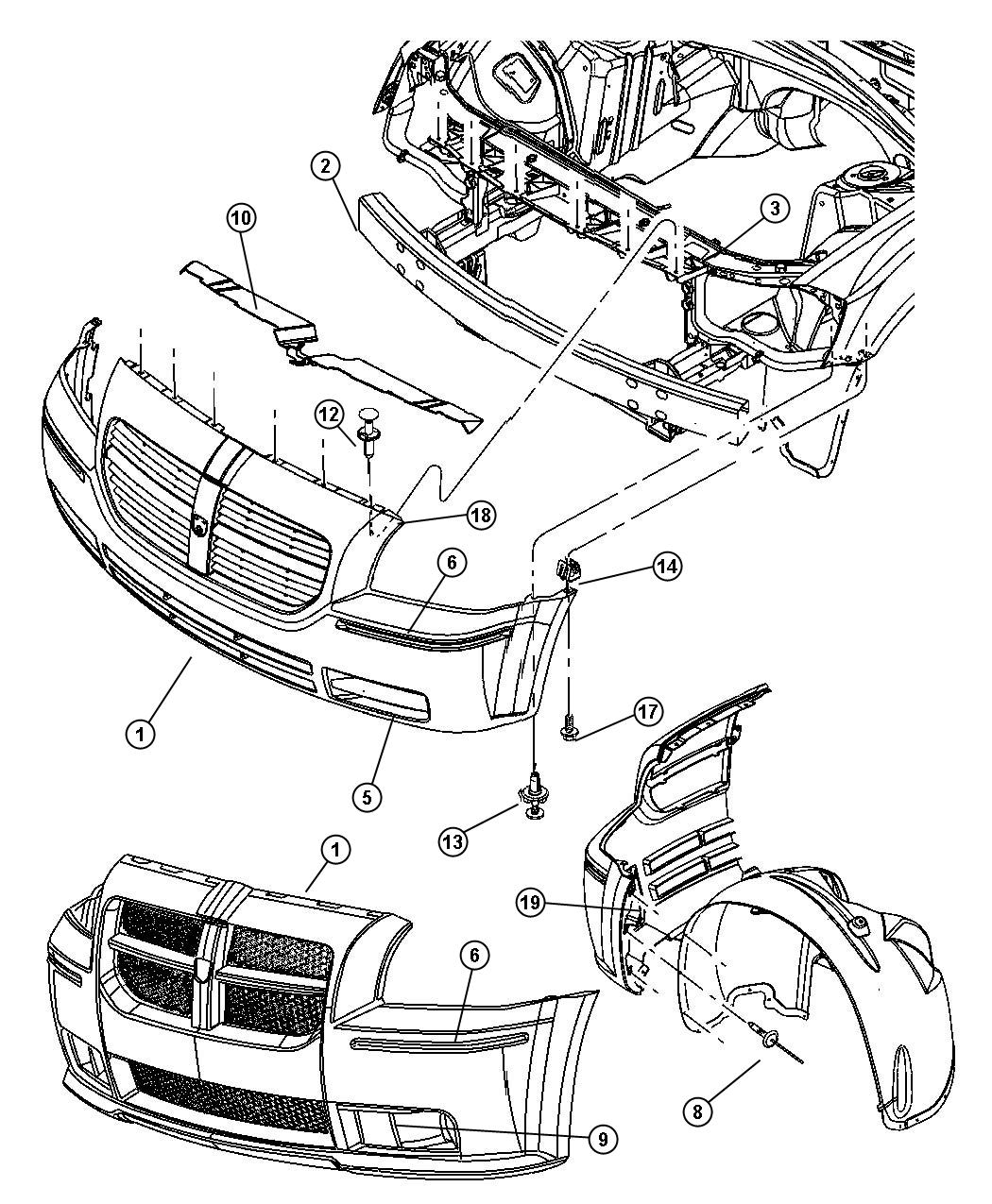 Dodge Caliber Front Bumper Diagram Dodge Free Engine