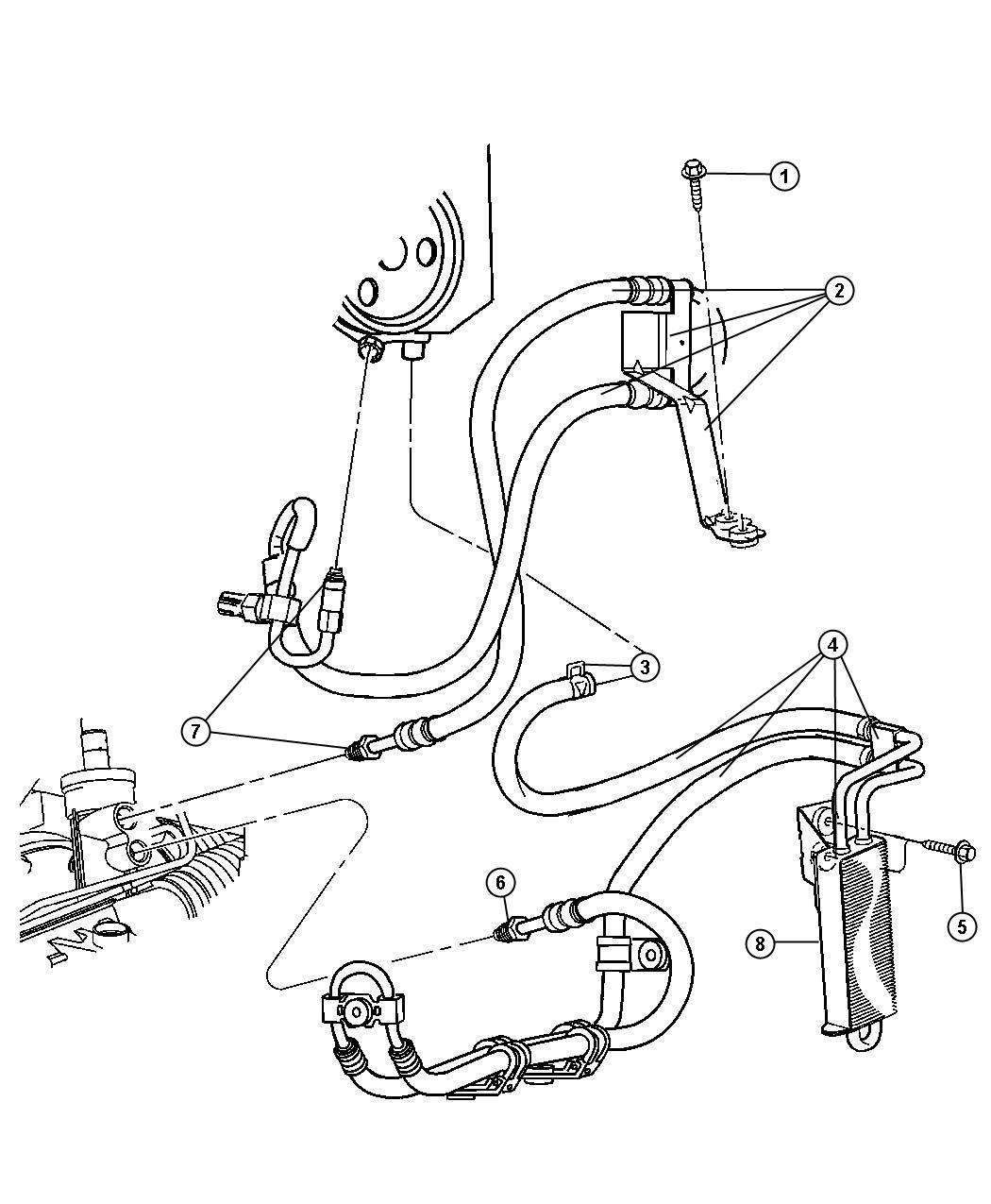 Jeep Liberty Hoses Power Steering Lhd 3 7l Ek0