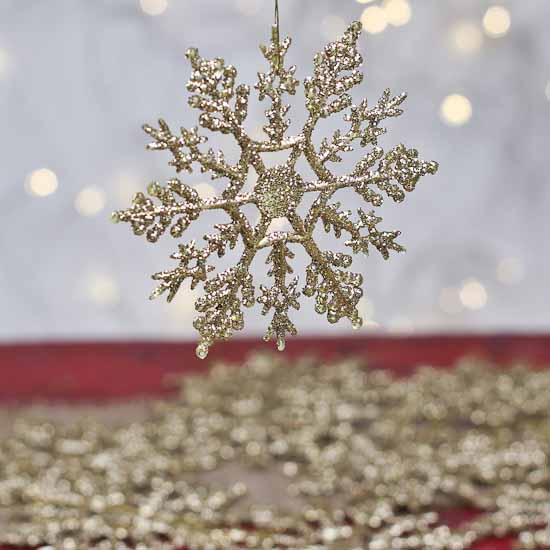 Gold Glitter Snowflake Ornaments Christmas Ornaments