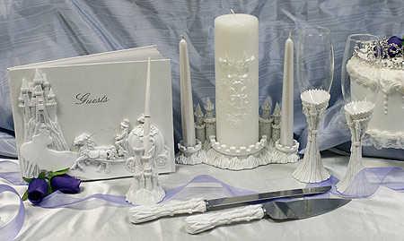 White Resin Fantasy Cinderella Castle Wedding Unity Candle