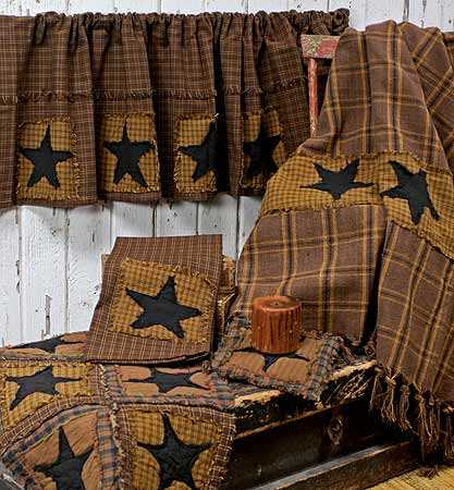 Primitive Star Patchwork Valance Primitive Decor