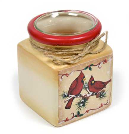 Winter Cardinal Candle Holder Jar Candles And