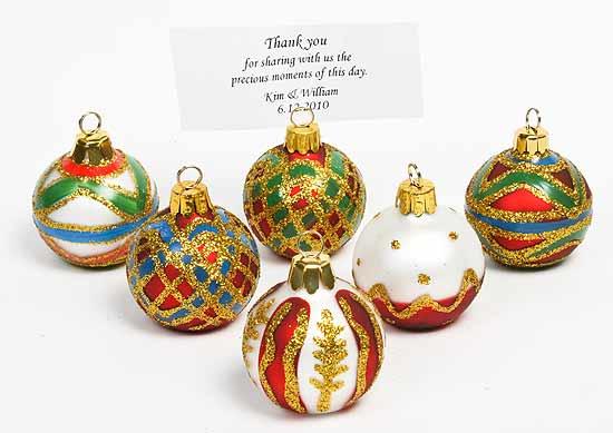 Glass Christmas Ornament Placecard Holders Christmas