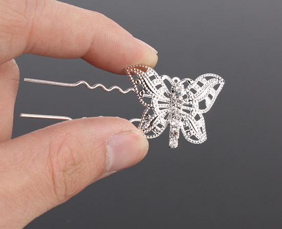 Silver Rhinestone Butterfly Hair Pins Wedding Tiaras And