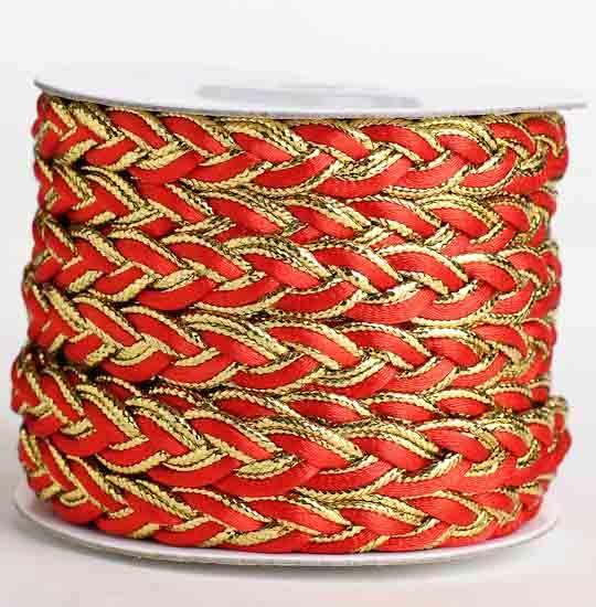 12 Gold And Red Braided Metallic Trim 10 Yards
