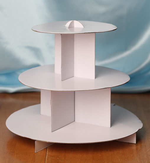 White Three Tier Cardboard Cupcake Stand Cake Knives And