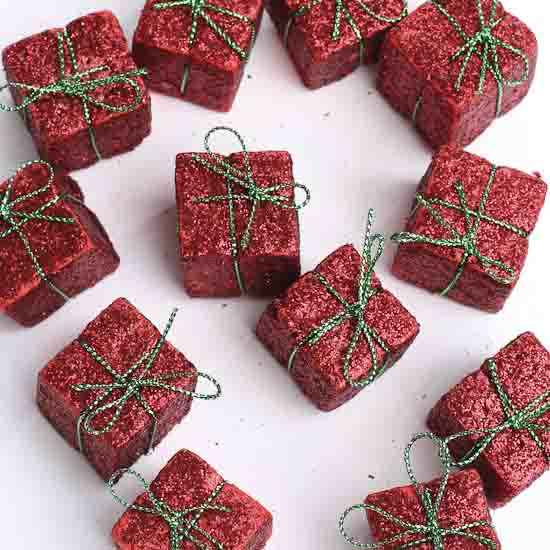 Miniature Red Glitter Gift Boxes Christmas Ornaments