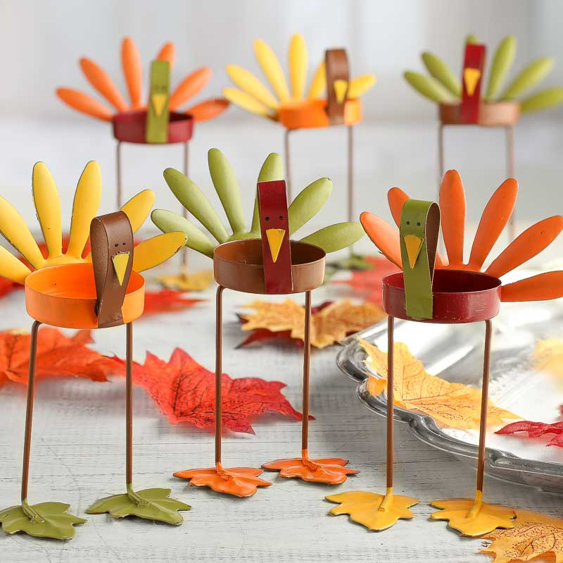 Assorted Turkey Tea Light Candle Holders Table Decor