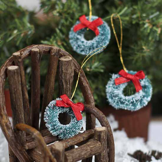 Miniature Frosted Sisal Wreaths Christmas Ornaments