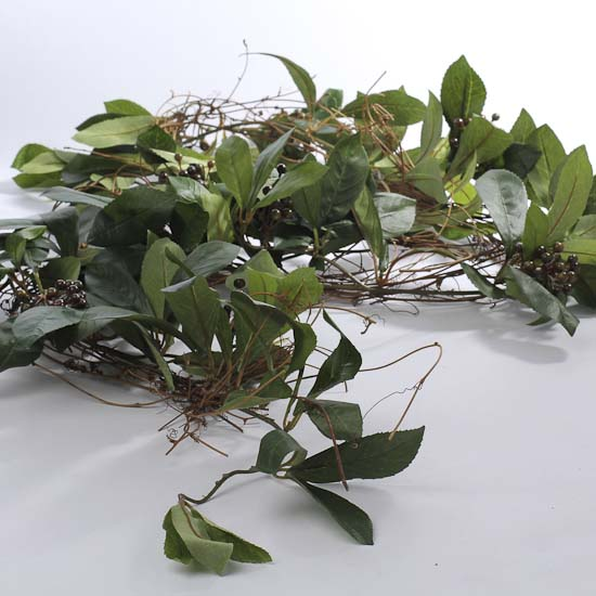 Natural Twig Garland With Artificial Greenery And Berries