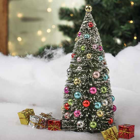 Frosted Bottle Brush Christmas Tree Table Decor