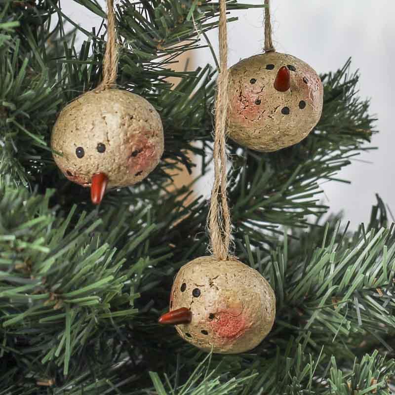 Primitive Snowman Head Ornaments Christmas Ornaments