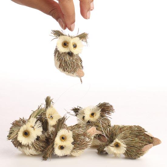 Miniature Rustic Sisal Owls Birds Amp Butterflies Basic