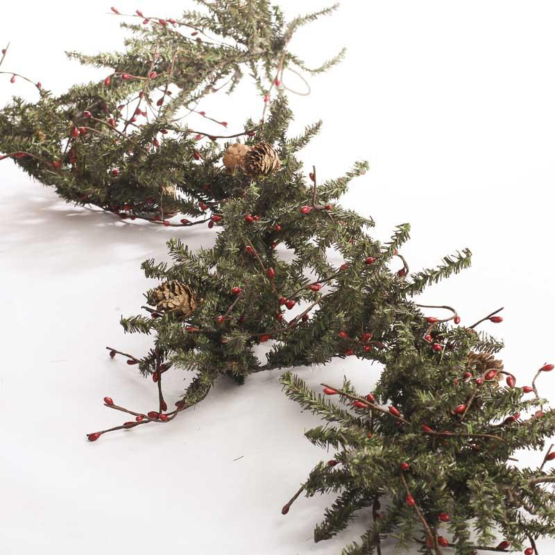Pip Berry And Artificial Pine Twig Garland Christmas