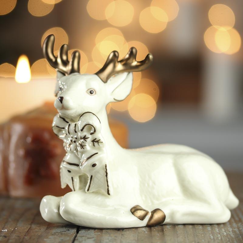 Ceramic Kneeling Deer Figurine Table Decor Christmas
