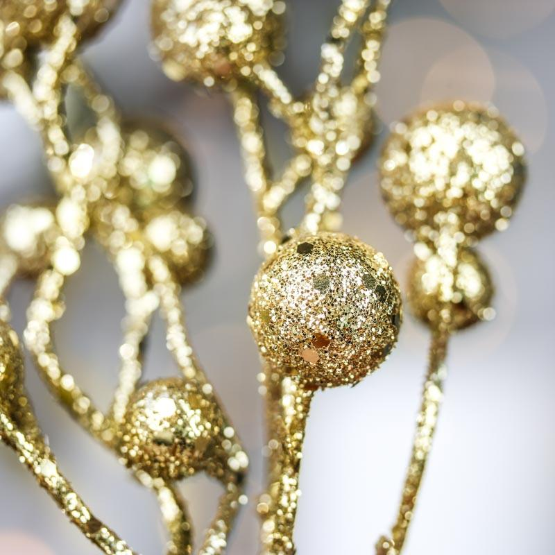 Gold Glitter Whimsical Ball Pick Christmas Holiday