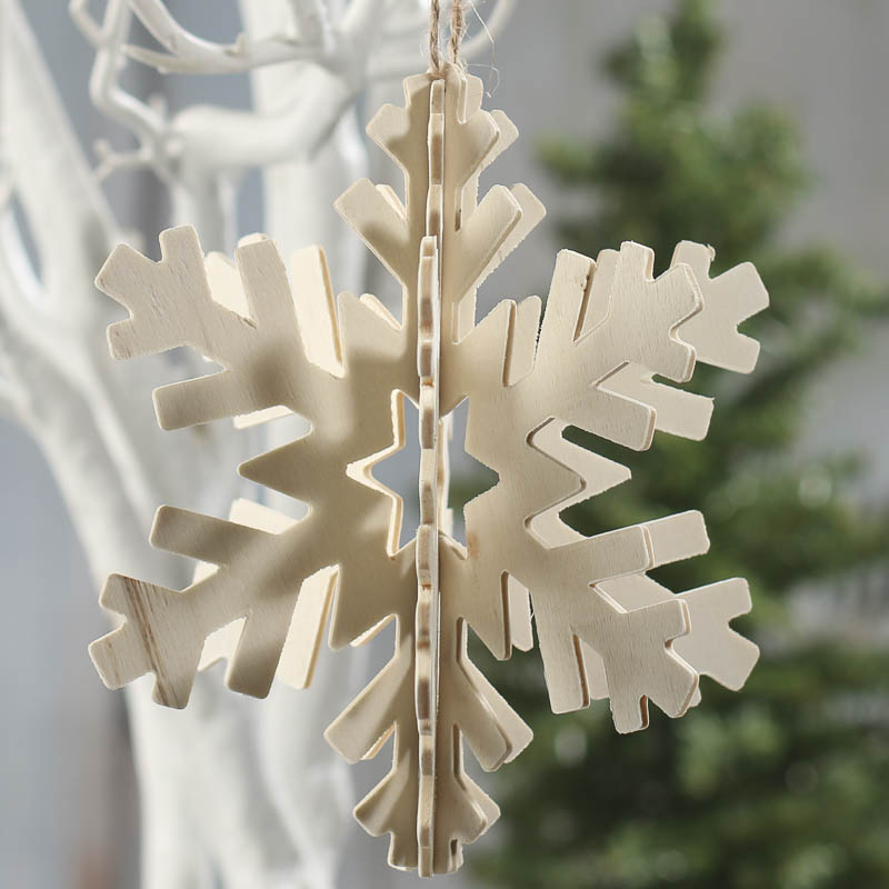3D Unfinished Wood Snowflake Ornament Wood Cutouts