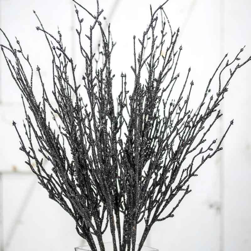 Black Glitter Twig Branches Fall Florals Fall And
