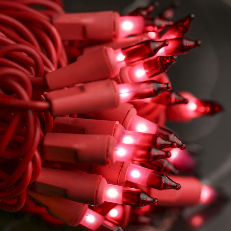 Red Bulb And Red Cord Valentines Day String Lights