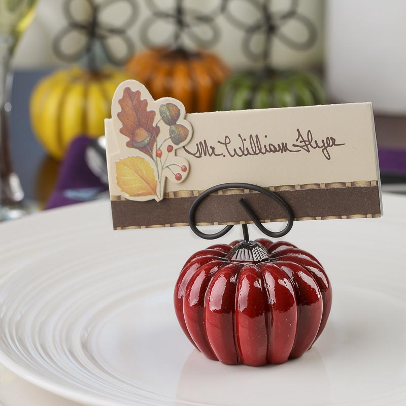 Pumpkin Place Card Holders Set Table Decor Fall And
