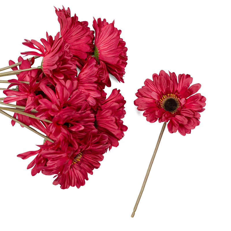 Burgundy Artificial Gerbera Daisy Stems   Bushes and Bouquets     Burgundy Artificial Gerbera Daisy Stems   Bushes and Bouquets   Floral  Supplies   Craft Supplies