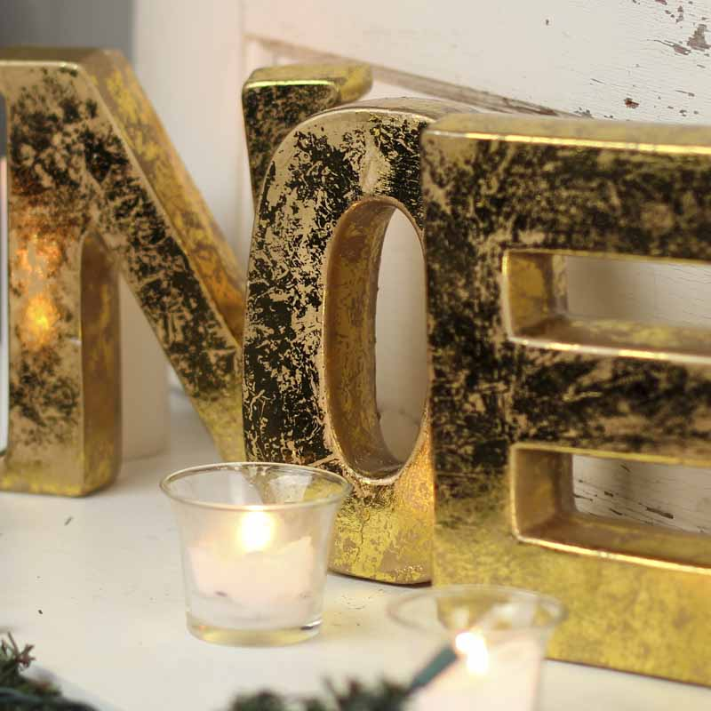 Gold Clay Block Noel Letters Table Decor Christmas