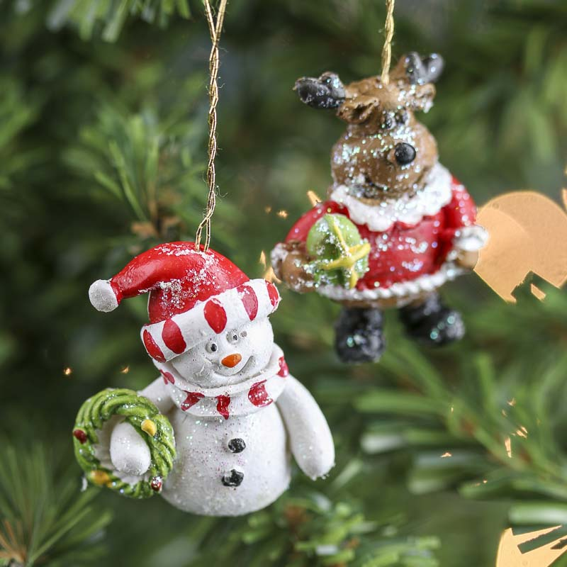 Miniature Snowman And Reindeer Ornaments Christmas