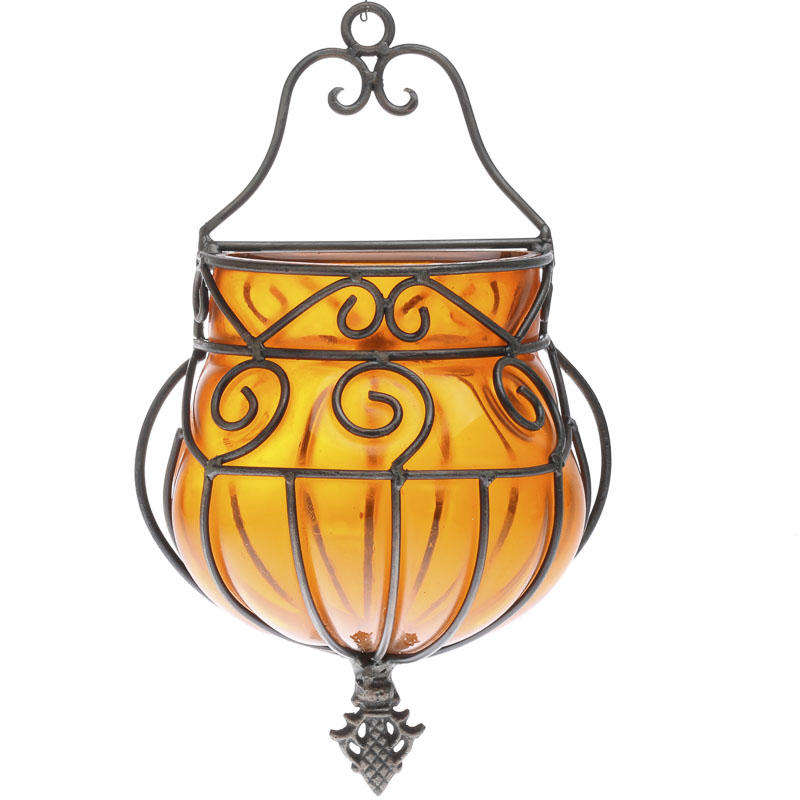 Orange Wrought Iron and Glass Wall Vase - Wall Decor ... on Iron Wall Vases id=49653