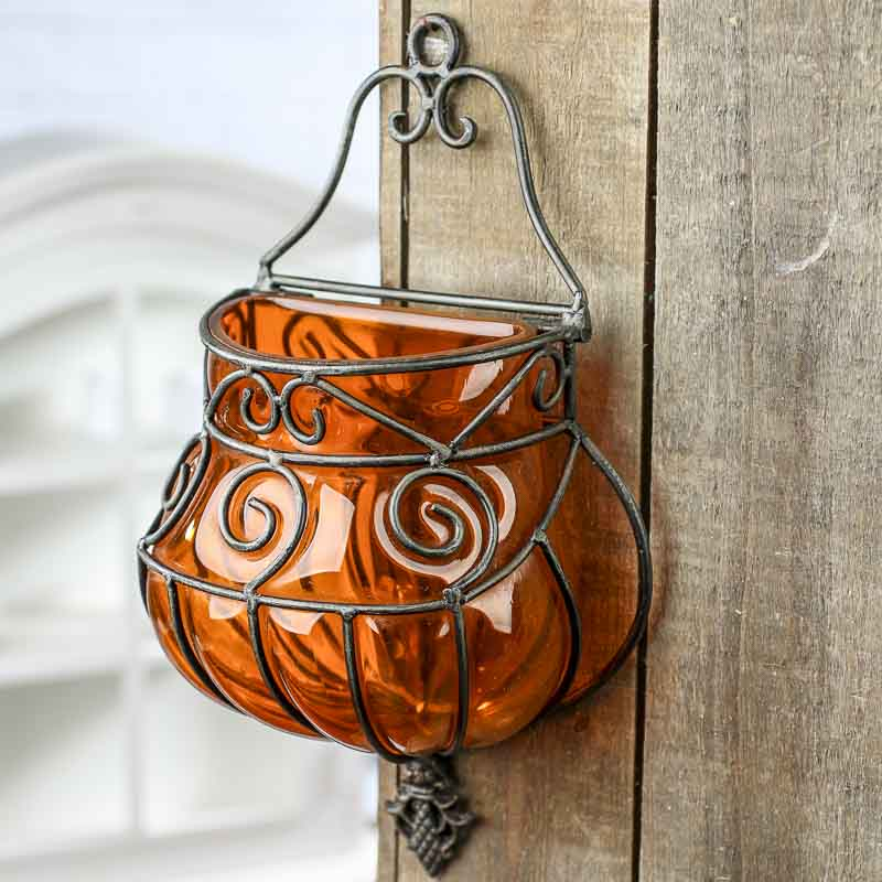 Orange Wrought Iron and Glass Wall Vase - On Sale - Home Decor on Iron Wall Vases id=94988