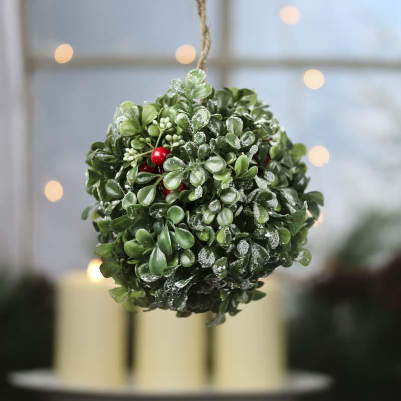 Holiday Artificial Boxwood Kissing Ball Vase And Bowl
