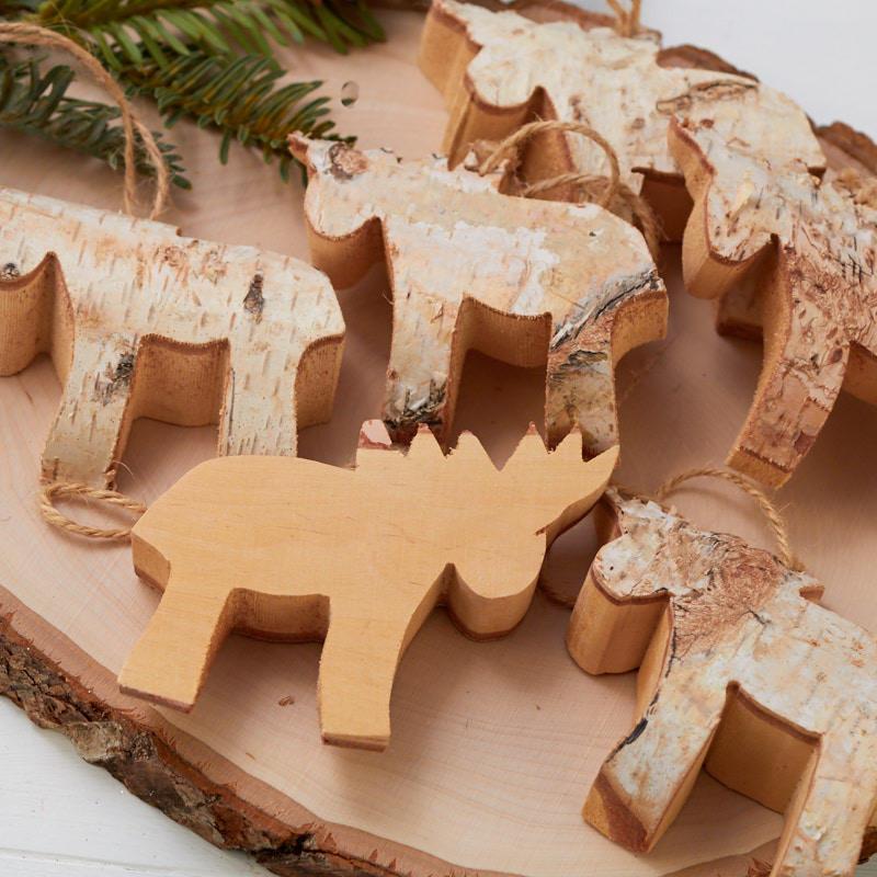 Rustic Birch Moose Ornaments Decorative Accents