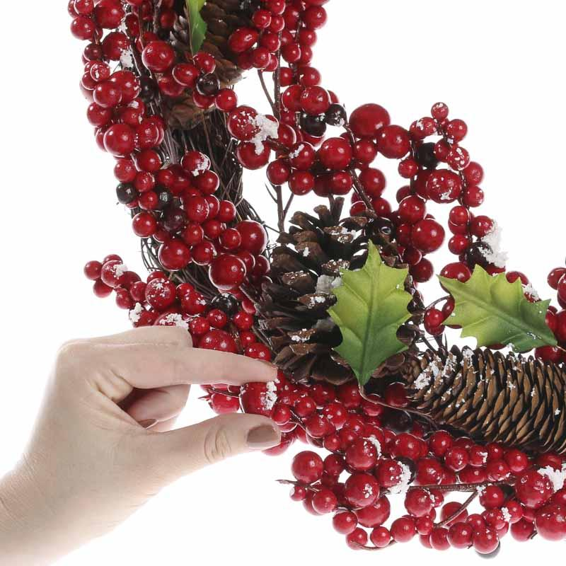 Artificial Holly Berry And Twig Wreath Wreaths Floral