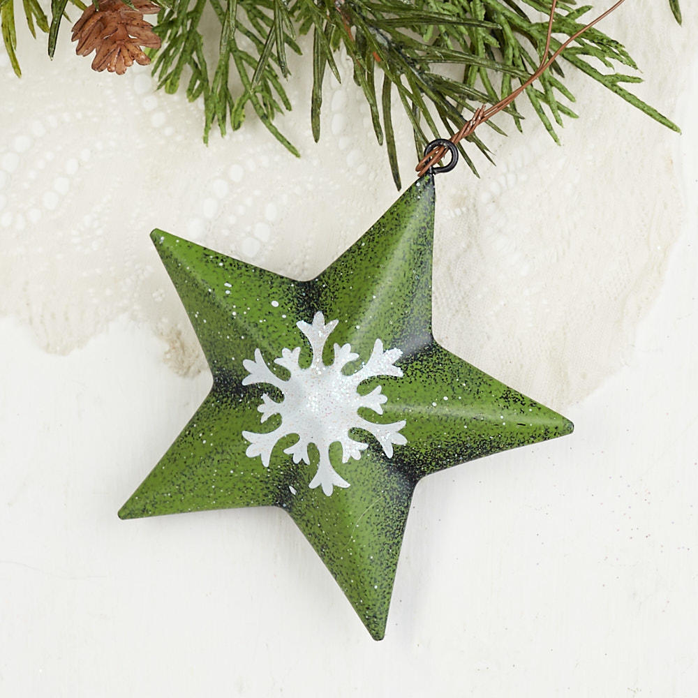 Snowflake Barn Star Ornament Christmas Ornaments