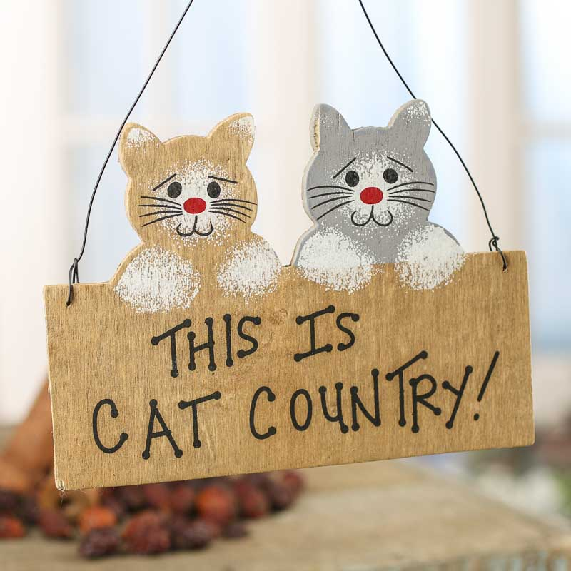 Cat Country Wood Ornament Sign Home Decor